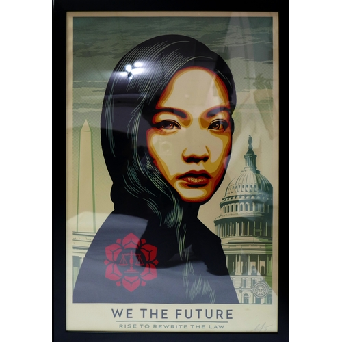 28 - Shepard Fairey (American, b.1970), 'We The Future', set of three screen print on paper portraits, in...