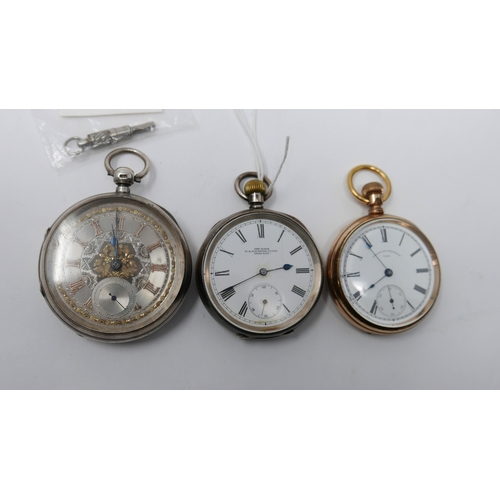 56 - A silver pocket watch marked John Eklan to dial, together with a yellow metal American Waltham pocke...