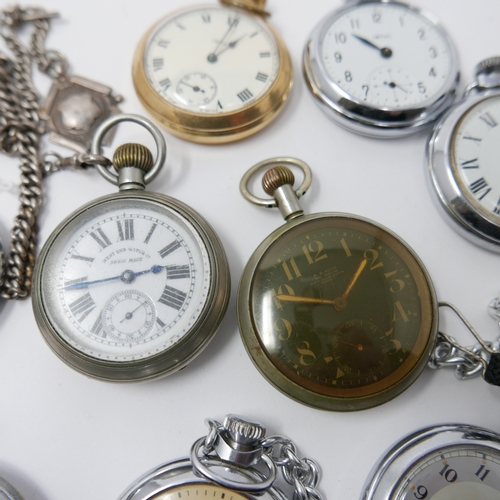 62 - A collection of 10 pocket watches to include Smiths and Ingersol examples...