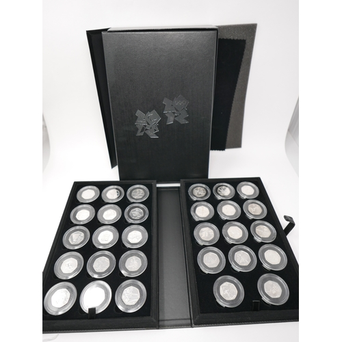 7 - A Royal Mint 2012 London Olympic Silver Sports Collection 50P Complete 29 BU Coin Set...