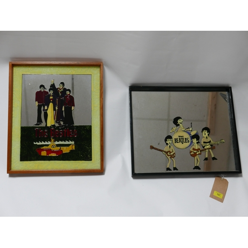 127 - Two painted Beatles mirrors, 41 x 49cm...