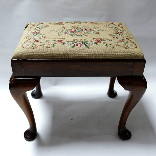 240 - A Georgian style mahogany foot stool with tapestry upholstery, H.51 W.58 D.40cm...