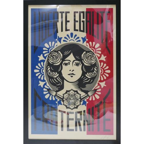 25 - Shepard Fairey (American, b.1970), 'Liberte Egalite Fraternite', print on cream speckle tone paper, ...