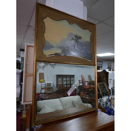 110 - A 19th century painting on panel, indistinctly signed and dated 1887, set into a gilt wood mirror, 1...