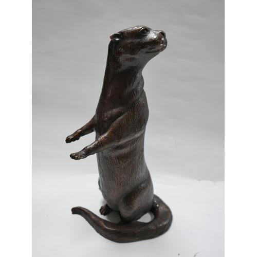 229 - A cast bronze otter, H.53cm...