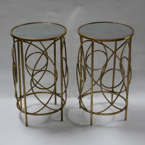 301 - A pair of gilt metal contemporary lamp tables, with circular mirrored tops, H.60cm Diameter 35cm (2)...
