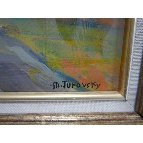 314 - Mikhail Turovsky (Ukrainian, b.1933), Landscape study of a house down a lane, oil on board, bearing ...