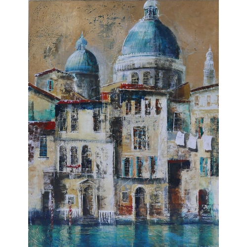 319 - 20th century school, Venice Canal Scene with St Mark's to background, indistinctly signed, oil and m...