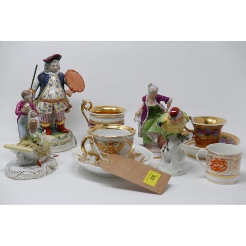 326 - A collection of 19th & 20th porcelain to include a Meissen cup and saucer...