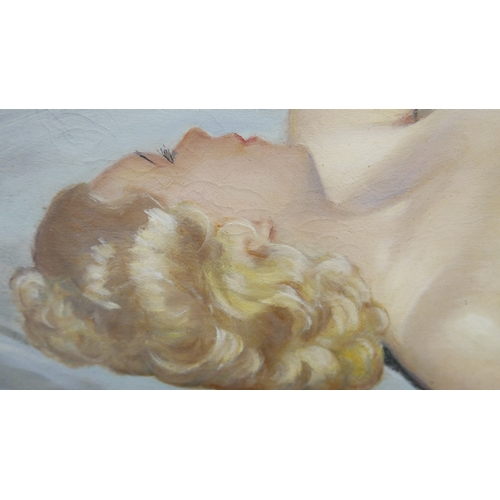 48 - An oil on canvas 1920's nude study, signed A. Bier, 100 x 50cm...
