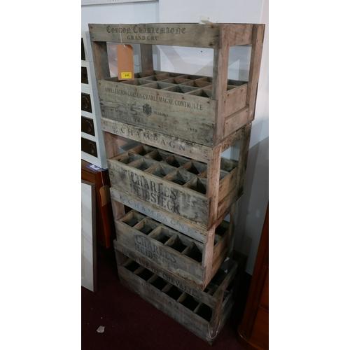 245 - Four 15 bottle wine crates, H.43 W.57 D.34cm (4)...