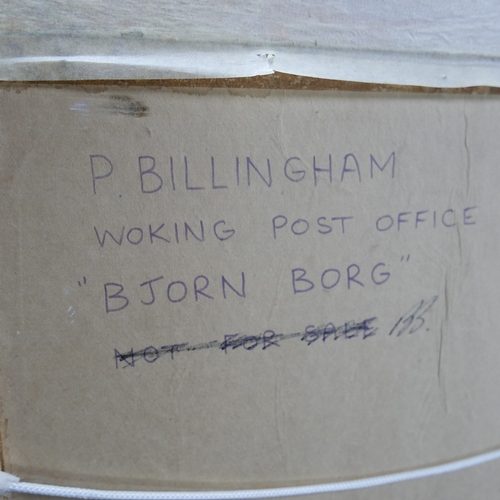 305 - Peter Billingham, Portrait of Björn Borg, oil on board, signed lower right, bears signature for Björ...