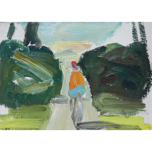306 - Lidiya Davidenkova (Russian, b. 1939) 'Summer', a cyclist on a tree lined path, oil on canvas laid d...