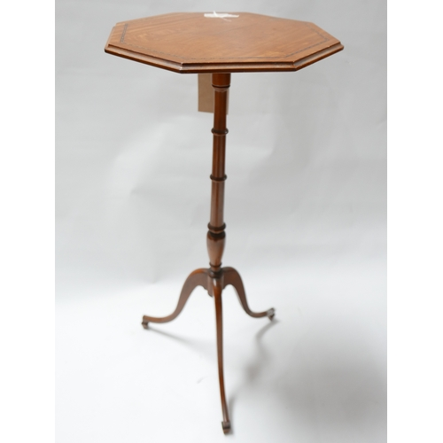 274 - A 19th century satinwood hexagonal lamp table, with ebony inlay raised on tripod base, H.73cm...