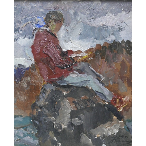 310 - Sergei Nikolski (Russian school), Study of a young man seated on a rock, oil on canvas laid down on ...
