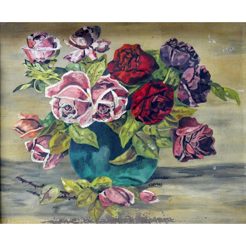 316 - A still life study of roses in a vase, signed V Semal and dated 1936, oil on board, in distressed fr...
