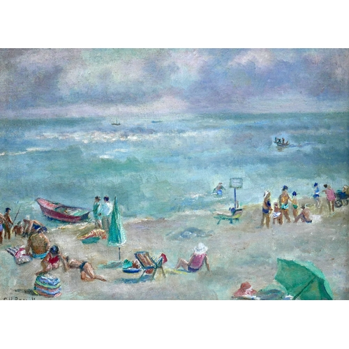 334 - Two mid 20th century oils on boards depicting beach scenes, both signed C.H. Bagnoli...