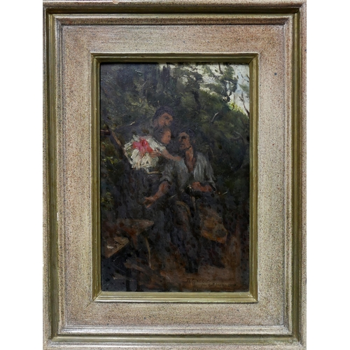 336 - After George Percy Jacomb-Hood, an oil on panel depicting figures in a woodland scene, inscribed 'To...