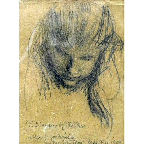 338 - An early 20th century pencil portrait sketch, signed and dated 1900, 18 x 14cm...