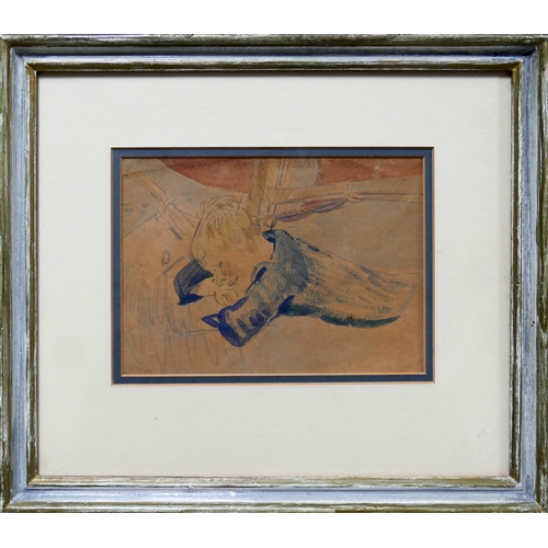 340 - An early 20th century pencil and watercolour study of a boy laying on a boat, 15 x 21cm...