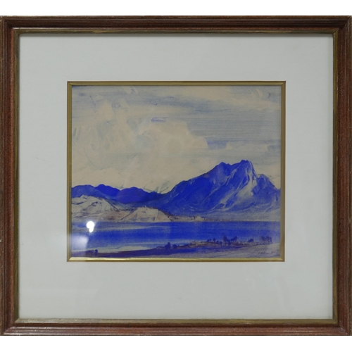 342 - A 20th century watercolour, mountainscape, signed, 25 x 29cm...