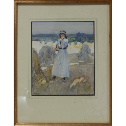 352 - Robert Sargent Austin R.A. (1895-1973), lady in a hay field, watercolour, signed and dated 1914, 28 ...