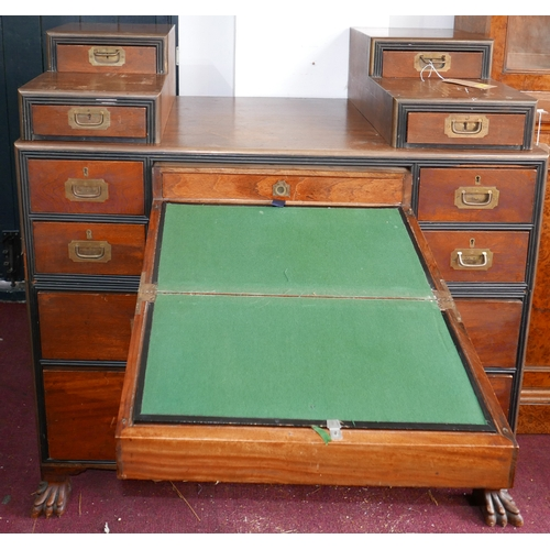 367 - A 19th century military campaign mahogany and camphor wood secretaire chest, 10 drawers, pull out de...