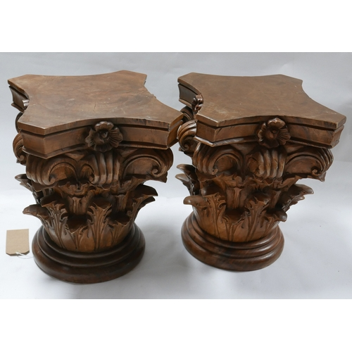 252 - A pair of carved Corinthian pedestals, H.44cm...