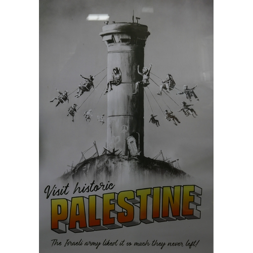 12 - A Banksy Walled Off Hotel poster, 'Visit Palastine', with The Walled Off Hotel invoice to verso, bea...