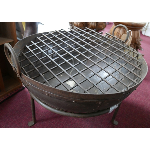 251 - A Kadai style fire pit, with fire grate, H.45cm Diameter 64cm...