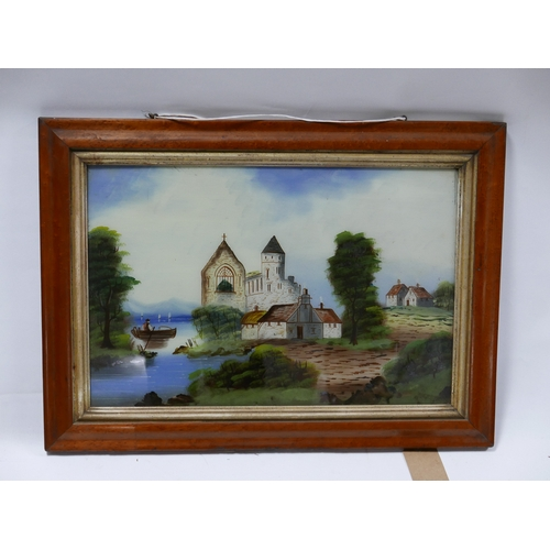 254 - A painting on glass depicting a church by a coast, set in maple frame, 40 x 60cm...