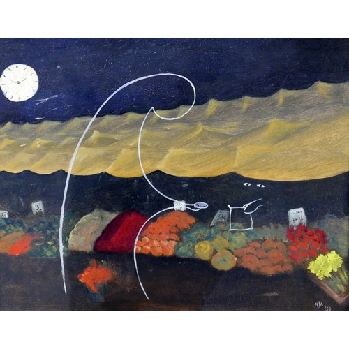 299 - A Surrealist study of a vegetable market stall, monogrammed HJA and dated '59 to lower right, 40 x 4...