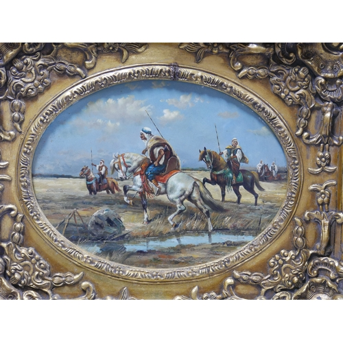 312 - 20th century school, Middle Eastern Horsemen, oil on panel, signed lower right, in giltwood frame, 2...