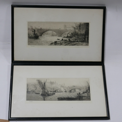 313 - William Lionel Wyllie (1851–1931), two etchings of London Bridge and Southwark Bridge, signed in pen...