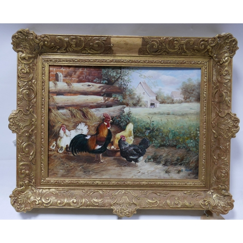 318 - G. Metsu, Chickens on a Farm, oil on board, signed lower right, in gilt frame, 29 x 39cm...