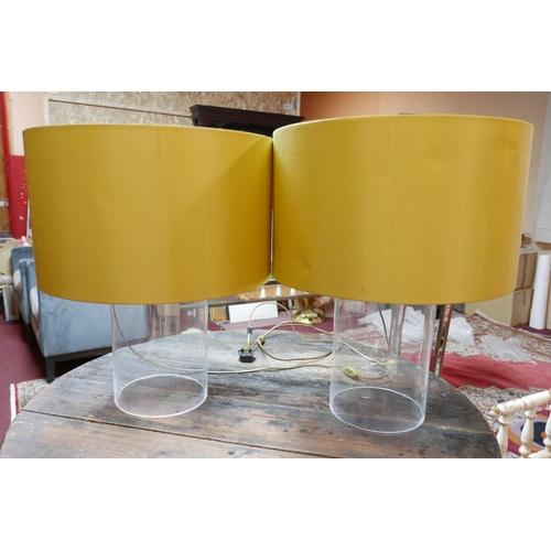 335 - Two large glass lamps with lime green shades, H.55cm...