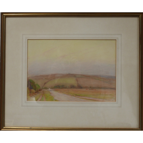 348 - George Clausen, watercolour, girl in fields, signed and dated 1916, 25 x 35cm...