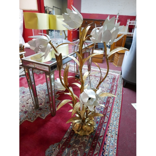 349 - A large gilt metal floor standing 7 branch flower lamp in the style of Hans Kogl, H.133cm...