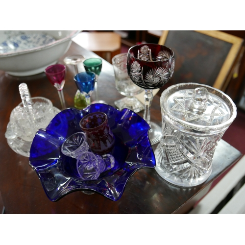 359 - An antique Masonic etched glass, together with other glass and crystal items...
