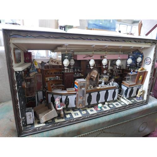 365 - A scratch built diorama of a bar, H.50 W.90 D.30cm...