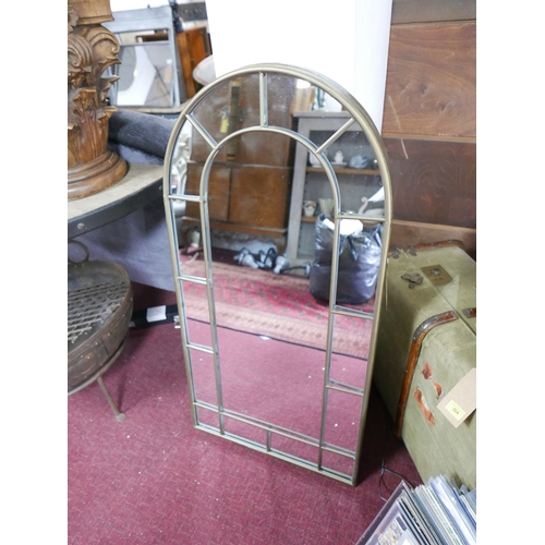 249 - A pair of contemporary arched garden mirrors, 107 x 55cm (2)...