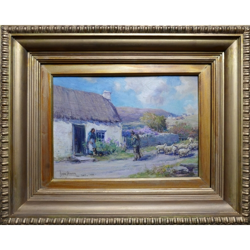 61 - Owen Bowen (British, 1873-1967), A Shepherd passing a cottage with his flock, oil on board, signed a...