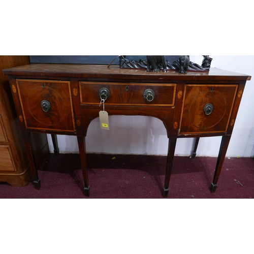100 - A George II mahogany bow front sideboard, with marquetry inlay, raised on tapered legs and spade fee...