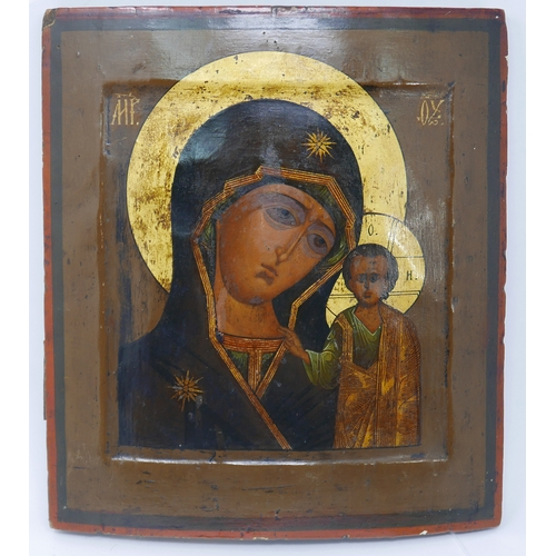 12 - A Russian icon of the Mother of God of Kazan, tempera on wood panel, 31 x 26cm...