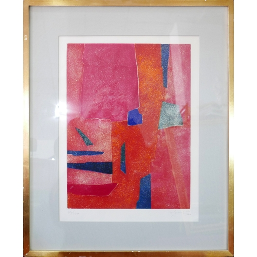 76 - Gustave Singier (1909–1984), a limited edition aquatint titled 'Interiur Rouge', signed and numbered...