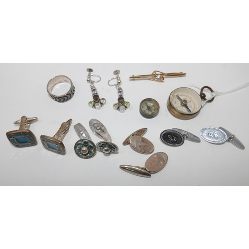 69 - Collection of jewellery and assorted items; 4 pairs of cufflinks (2 silver, 1 slver gilt and other),...