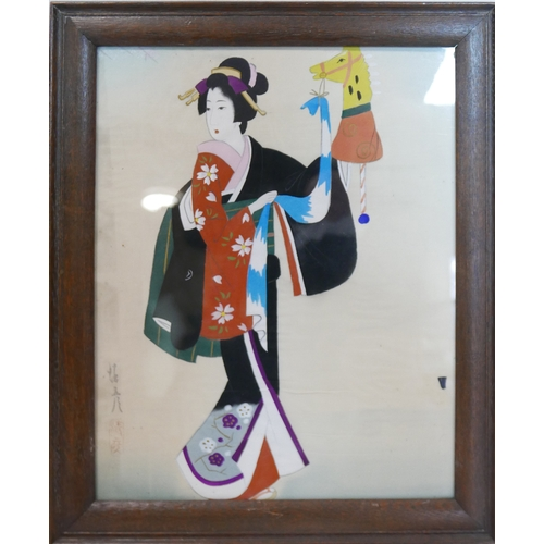 313 - An early 20th century Japanese watercolour on silk of a Geisha dancing with a puppet, signed and sta...