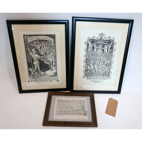 386 - A pair of Walter Crane prints together with an early 20th century open bite etching of a reclining n...