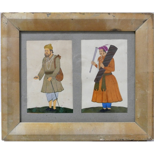 26 - A Mughal miniature diptych study of two men, in gilt wood frame, 15 x 10cm each image...