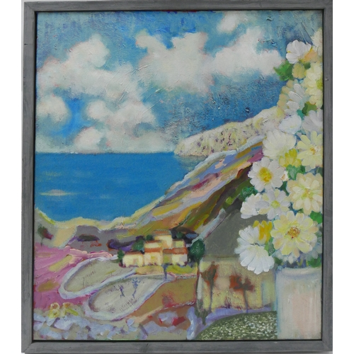 51 - Contemporary school, a mountainous landscape with sea to background, monogrammed BR to lower left, 6...
